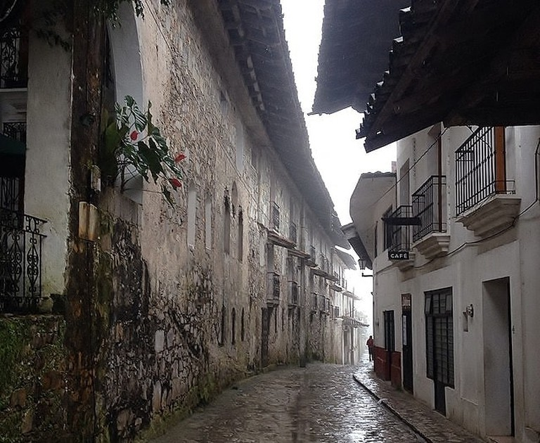 A rainy street in Cuetzalan