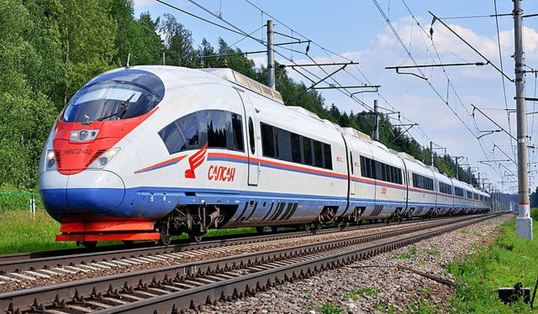The high-speed train EVS2-02 «Sapsan» on Moscow — Saint Petersburg railway line