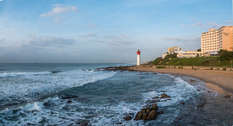 The Oyster Box is located in front of the Lighthouse on Umhlanga Beach