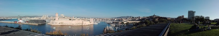 Looking into the 1st and 2nd arondissements of Marseille from the other side of the harbour