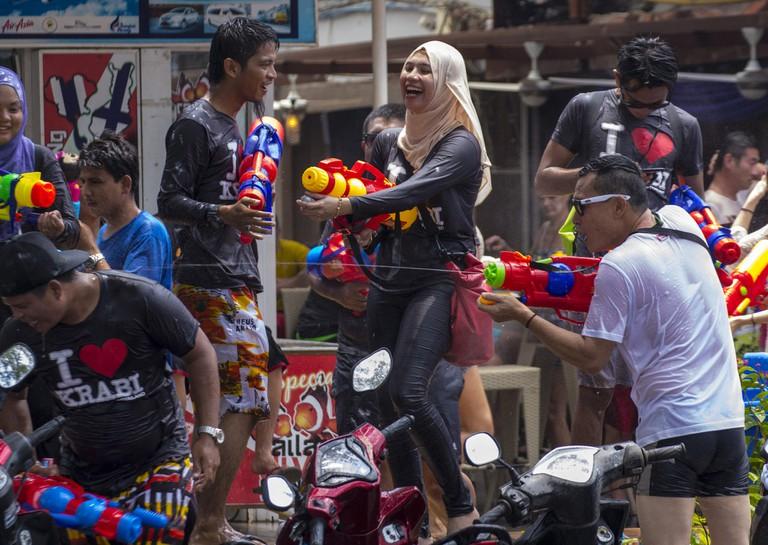 Songkran revellers
