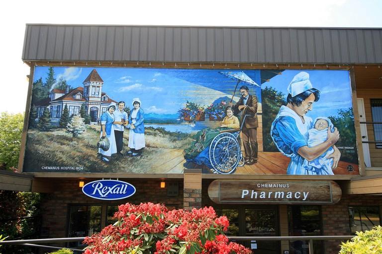 Pharma mural in Chermainus, Canada