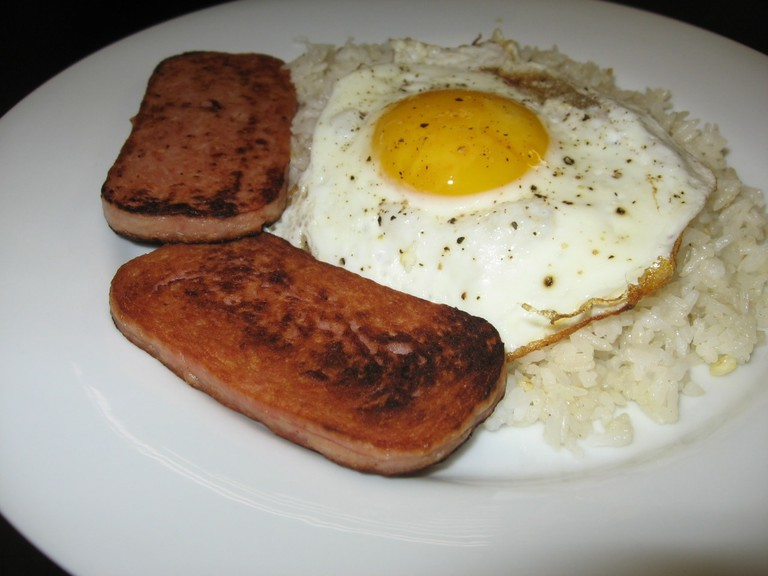 Spamsilog (Spam, fried garlic rice, and eggs)