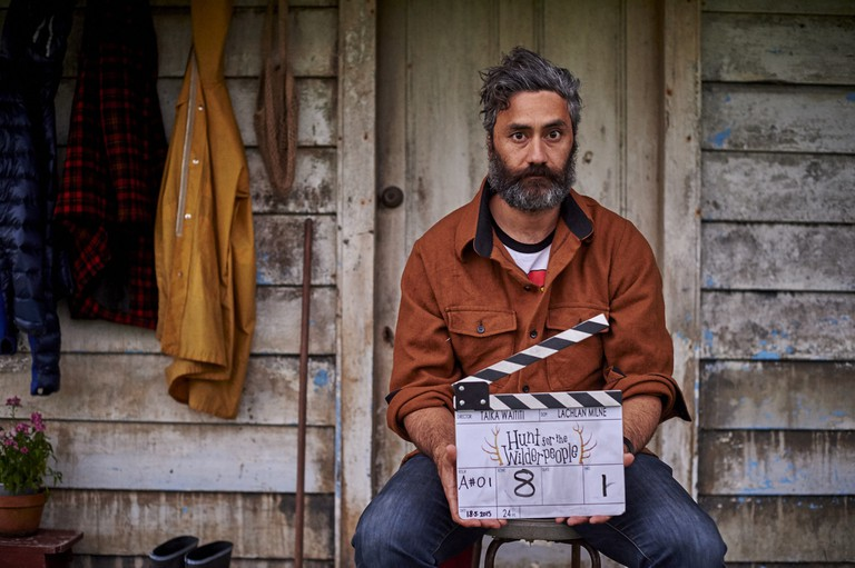 "Taika Waititi on the set of New Zealand movie ""Hunt for the Wilderpeople"""