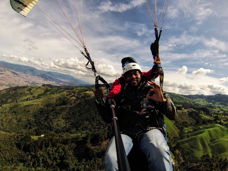 Paragliding with Medellin in the background