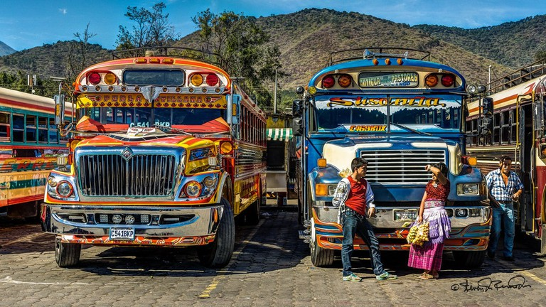 Antigua Guatemala chicken buses