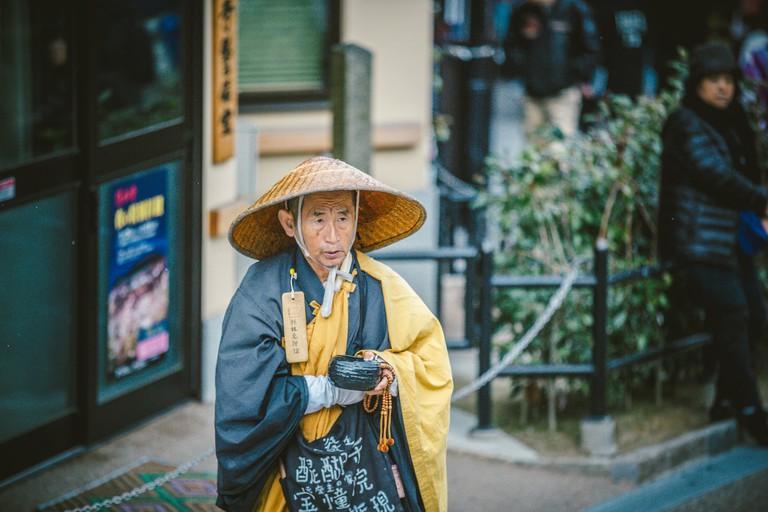 A Bhikkhu (Buddhist priest) in Kiyomizu, Kyoto