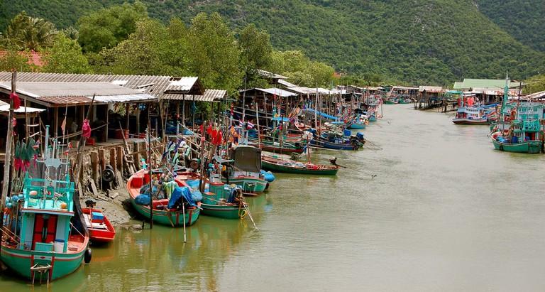 A fishing village in Hua Hin