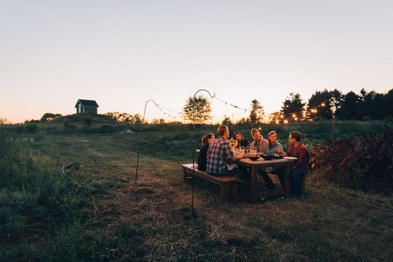 A farm dinner in Maine