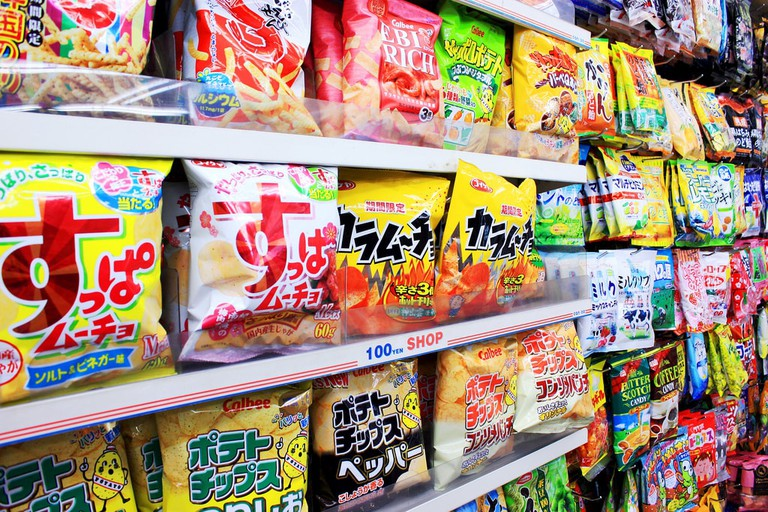 Snacks at a 100-yen store