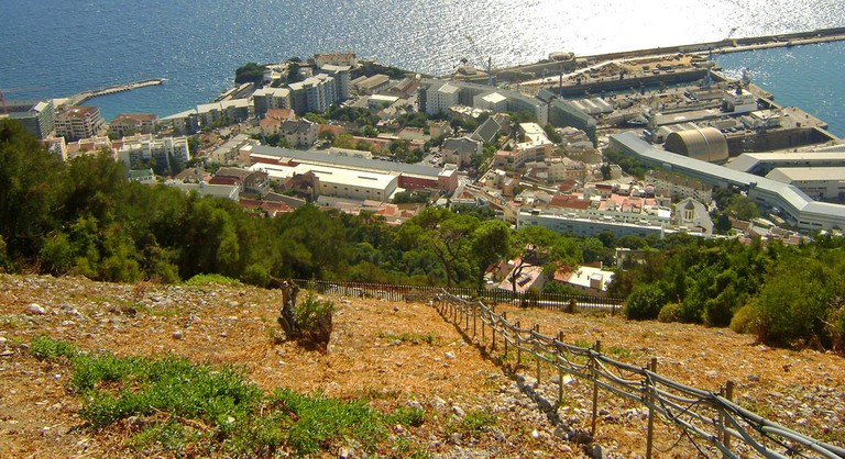 View of Gibraltar docks and part of the South District from the Upper Rock