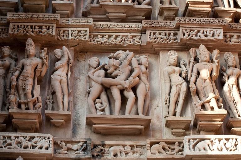 Erotic Art at Khajuraho Temple