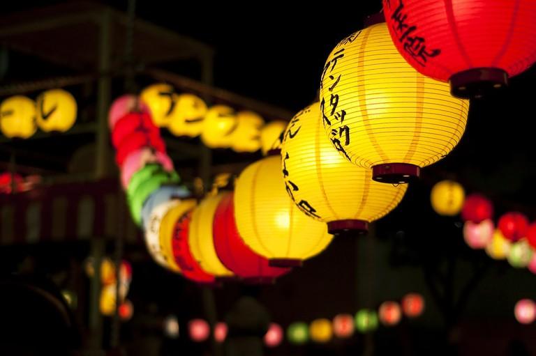 Festival lanterns during the August Obon celebrations