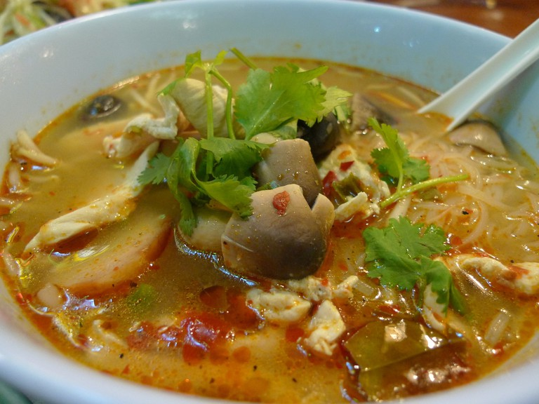 Spicy noodle soup with chicken