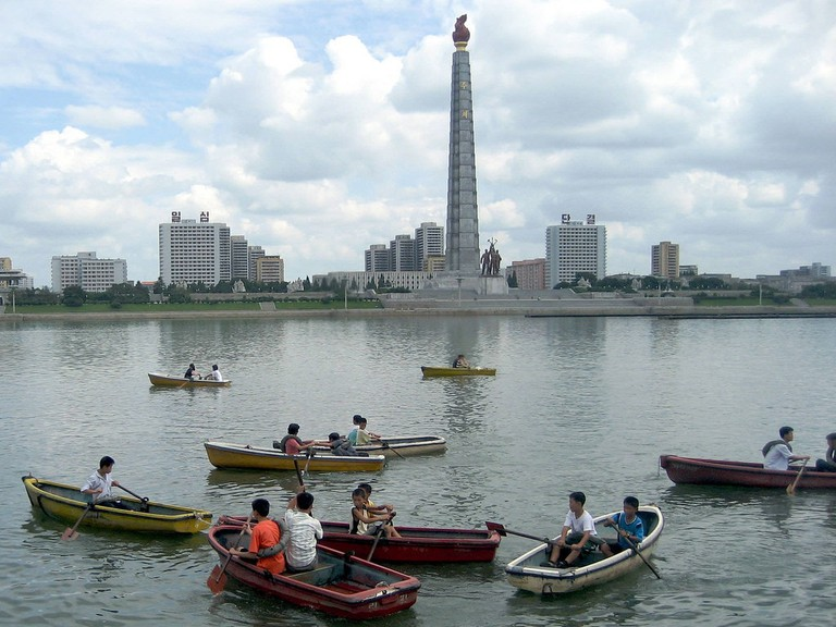 The Taedong River in Pyongyang with the Tower of the Juche Idea (1982) in the background