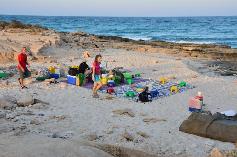 Visitors on Omani Beach