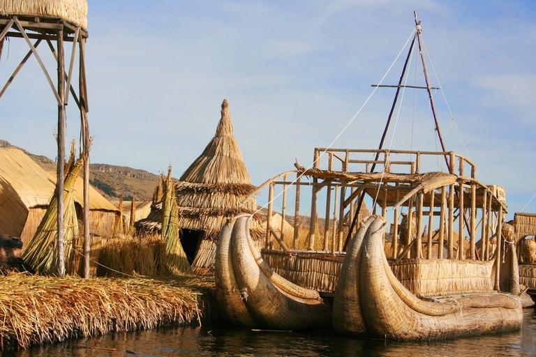 Uros Island on Lake Titicaca in Peru