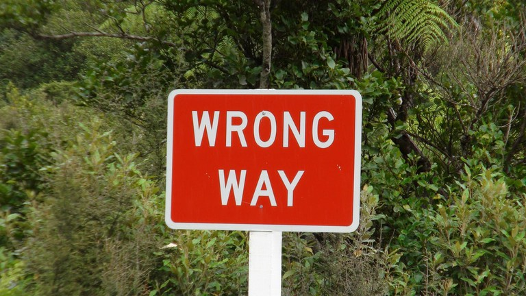 A 'Wrong Way' sign in New Zealand