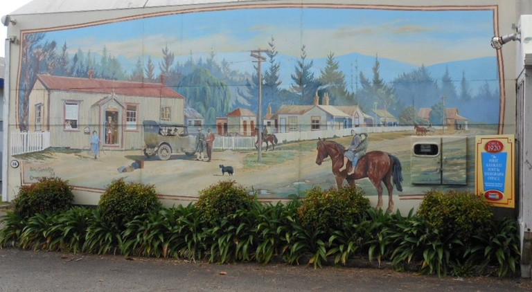 A mural depicting Katikati in the early days