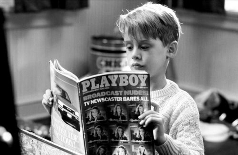 "Reading Playboy while ""Home Alone"""