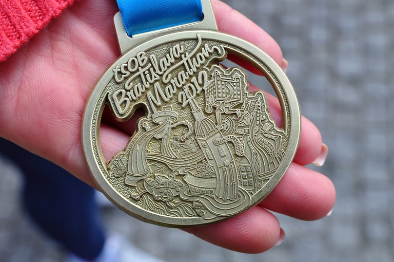 The CSOB Bratislava Marathon medal always features a cool local design incorporating some major sights from the city, such as the Castle and the UFO Tower!