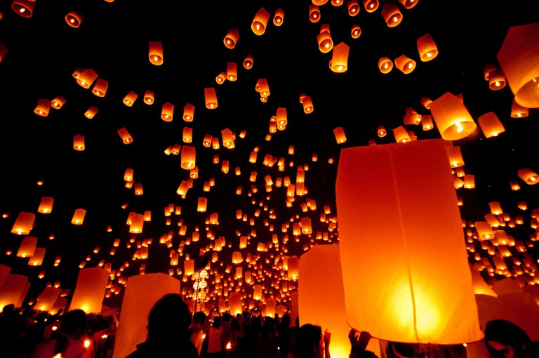 Lanterns fill the sky in Chiang Mai