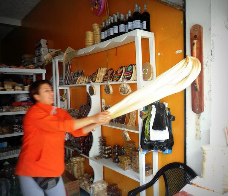 Making melcocha, Baños, Ecuador