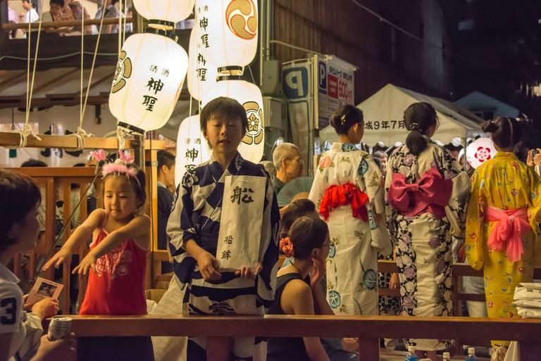 Summer festival wear at Gion Matsuri in Kyoto