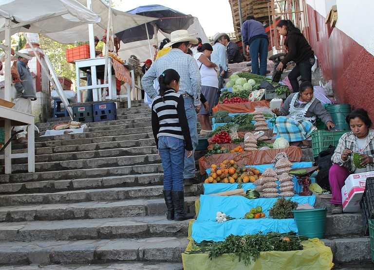 Market on the town stairs