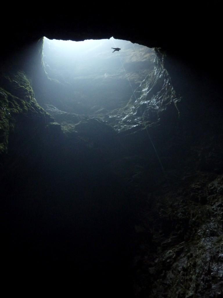 Descending into Harwood's Hole, Takaka Hill
