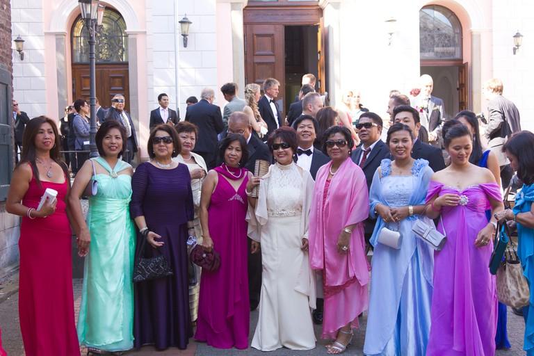 Filipina women at a wedding