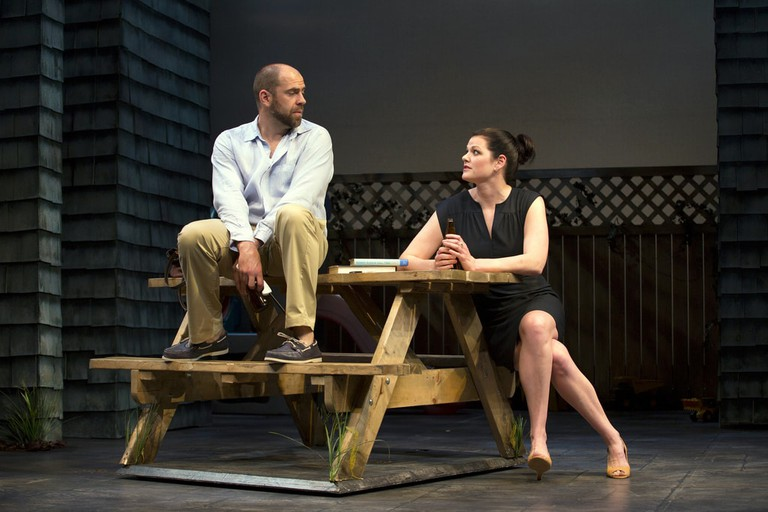 Kate Shindle in the Huntington Theatre Company's production of Gina Gionfriddo's RAPTURE, BLISTER, BURN.