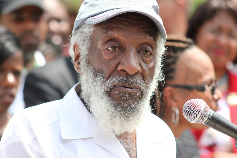 Dick Gregory at a political rally