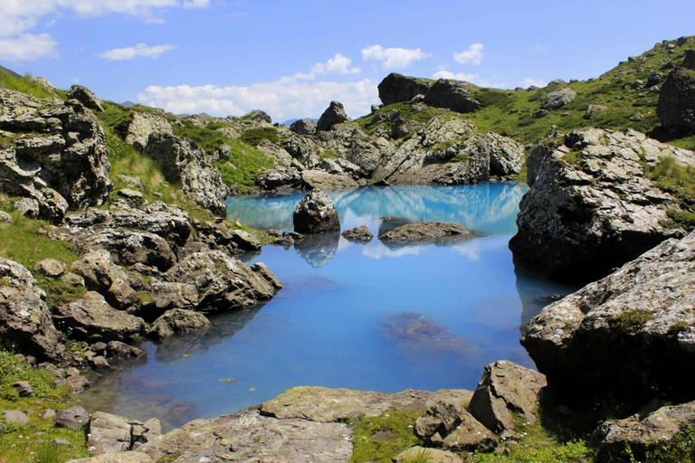 Blue lake of Abudelauri Lakes