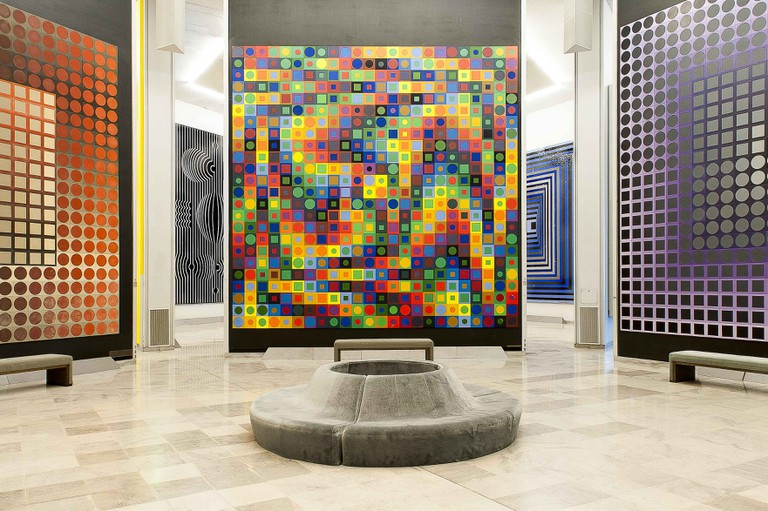 Some of the artwork at the Vasarely Foundation
