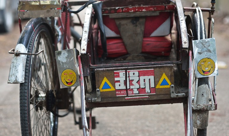 The back of a trishaw in Yangon