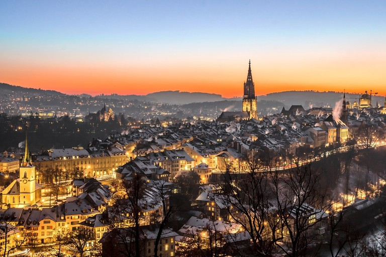 Bern as the sun goes down