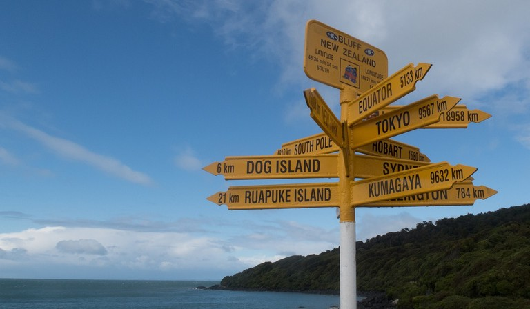 A sign in Bluff, New Zealand