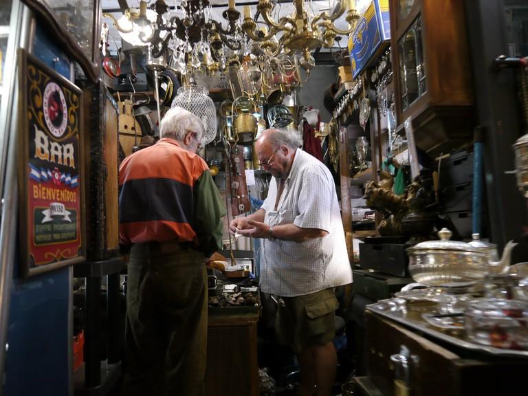 Bargain hunting in San Telmo market