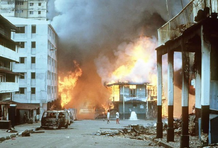 El Chorrillo on fire, the morning after the US Invasion on the 20th December 1989