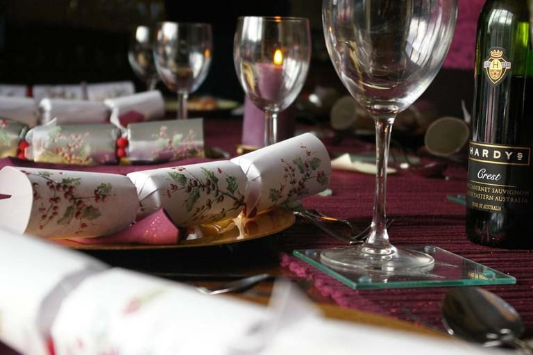 Christmas cracker table