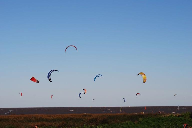 Check out the kite surfers at Peru Beach, San Isidro