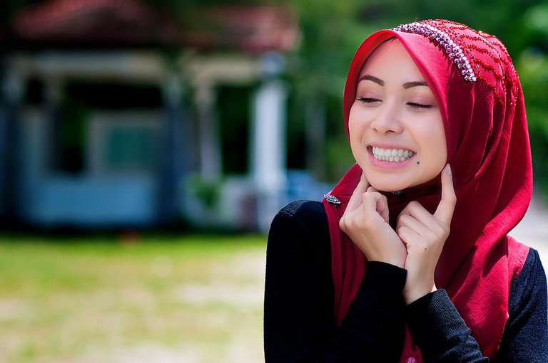 Brightly colored hijab making a fashion statement