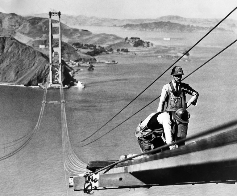 Picture dated October 1935 of the Golden Gate bridge, in the San Francisco Bay, during its construction