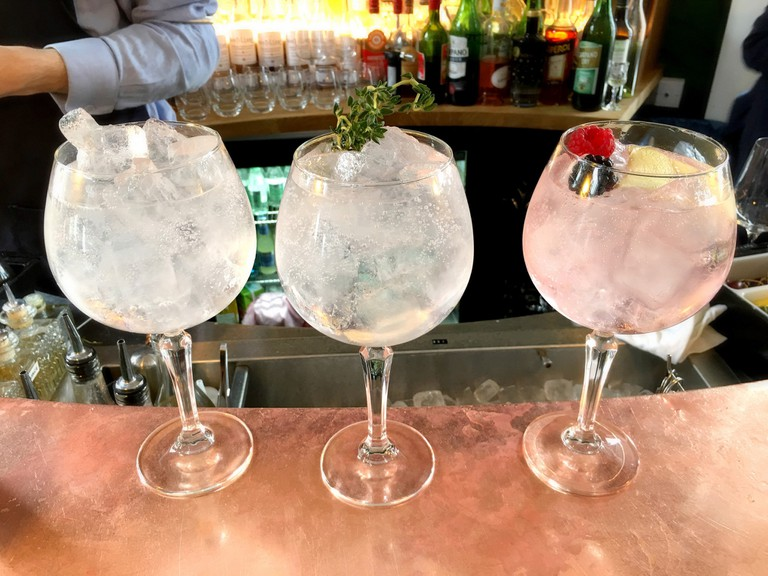 Gin and tonics at the London Gin Distillery