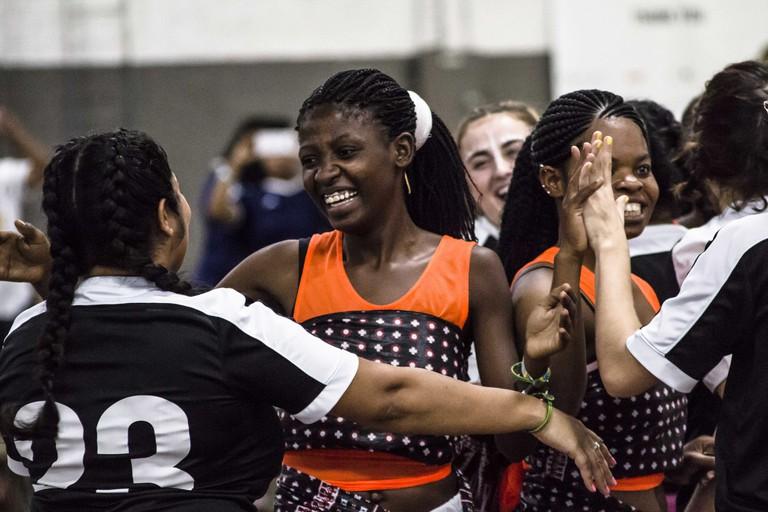 Members of team Moving the Goalposts celebrate their victory | © Amanda Suarez/Culture Trip