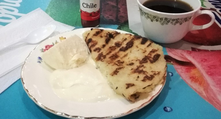 Güirilas in Sebaco Nicaragua are served with cream and curd cheese