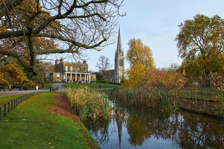 Clissold Park, Stoke Newington, North London, in late autumn, with Clissold House and St Mary's new church
