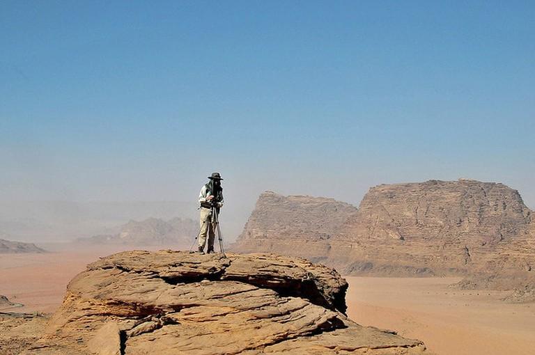 Hiking in Wadi Rum desert