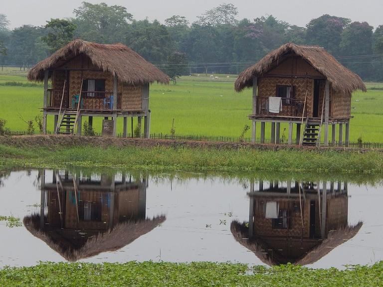 Bamboo houses in Majuli